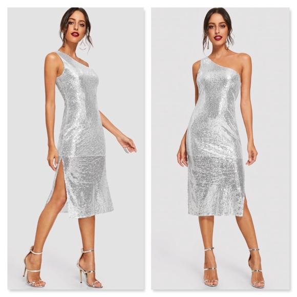 2b7c68fde98 One Shoulder Silver Sequins Sheath Midi Dress